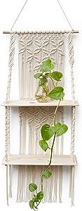 Afuly Macrame Wall Hanging Shelf, Boho Floating Shelf, Handcraft Bohemian Decor, Cute 2 Tiers Woven Shelves for Bathroom Plants Picture Frame, Home Storage and Organizer