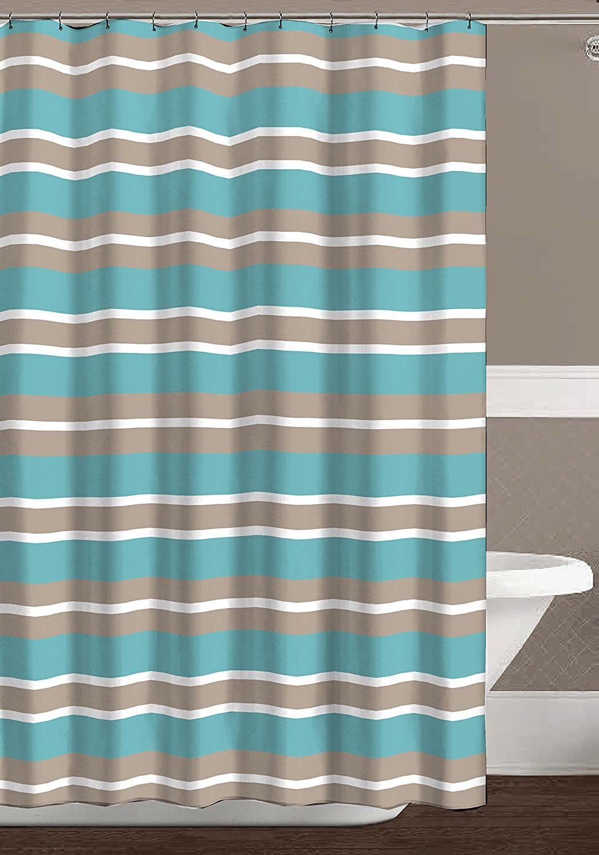 CHD Home Aqua Blue Tan White Canvas Fabric Shower Curtain Striped Design 70 X 72 Inch