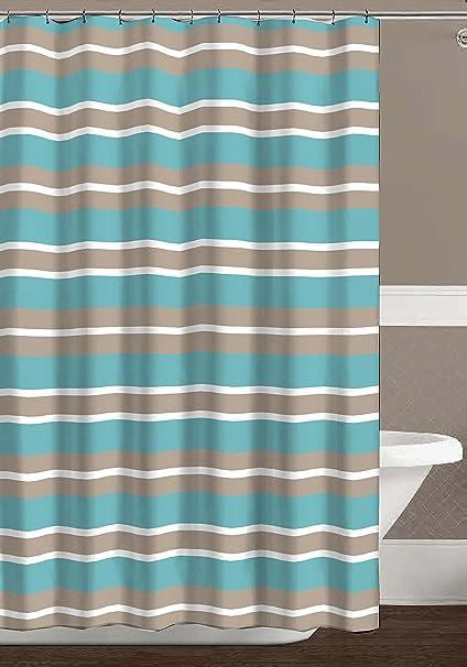 CHD Home Aqua Blue Tan White Canvas Fabric Shower Curtain Striped Design 70quot