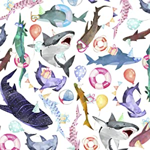 ColorsOfRainbow | Shark Party | 2.5 feet X 10 Feet | Folded Flat - Not Rolled | Holiday Gift Wrapping Paper