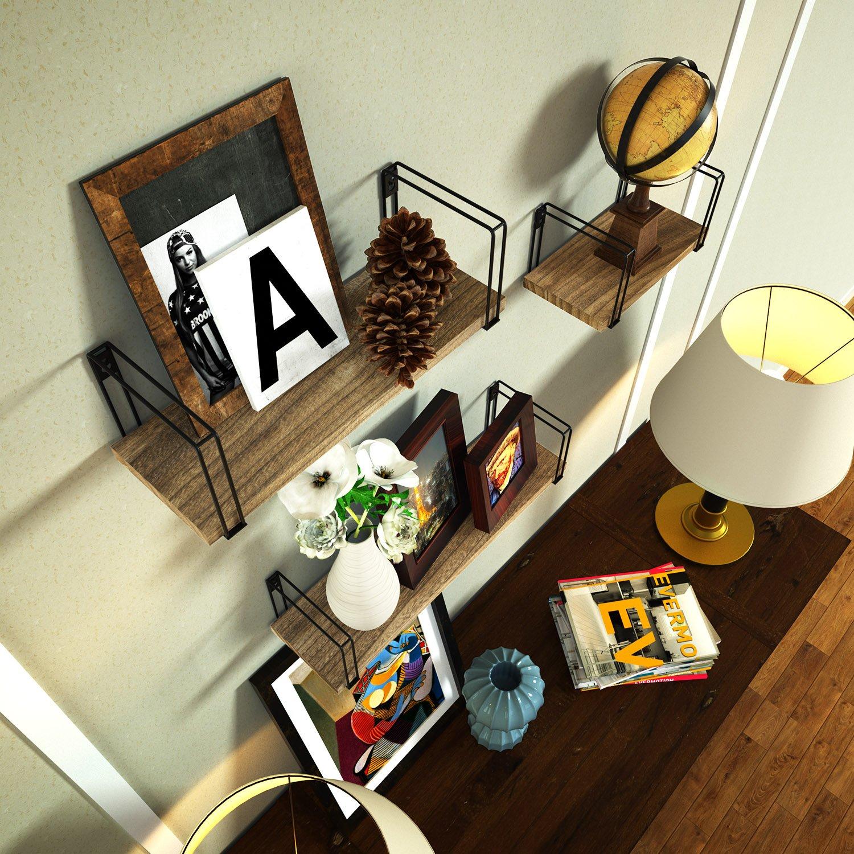 SRIWATANA Rustic Floating Shelves, Wood Wall Shelves Set ...