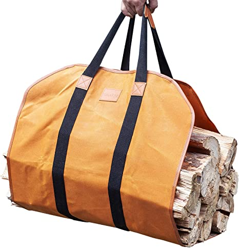 Heavy Duty Wax Canvas Log Carrier Tote,Multifunctional Extra Large Storage Tote Bag,Large Fire Wood Bag,Fireplace Wood Stove Accessories Storage Bag for Fire Pit