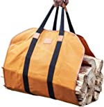 GALAFIRE Firewood Carrier Waxed Canvas, 20 Oz Heavy Duty and Large