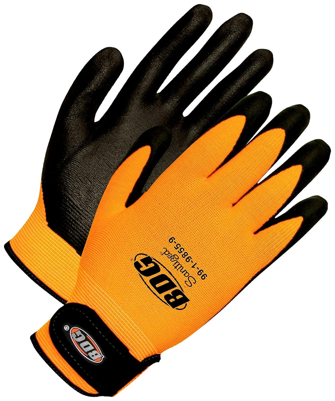 Bob Dale Gloves 991985510 Seamless Knit Orange Hi-Viz Nylon Black Bi-Polymer Palm,