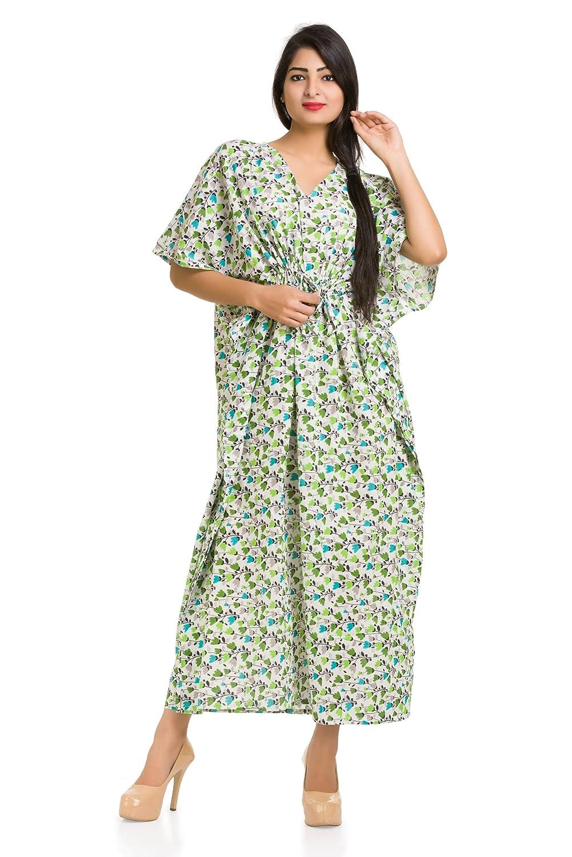 7075789ef6 white floral printed cotton women s caftan free size tunic kimono bikini  cover up dressing gown lingerie