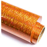 Holographic Starlight Brushed Orange Adhesive Craft Vinyl 12 Inch X 6 Feet for Crafts, DIE-Cutter,Decal, Signs, Stickers…