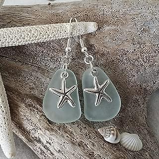 product image for Handmade in Hawaii, seafoam sea glass earrings, starfish charm, (Hawaii Gift Wrapped, Customizable Gift Message)