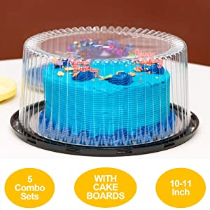 """10-11"""" Plastic Disposable Cake Containers Carriers with Dome Lids and Cake Boards 