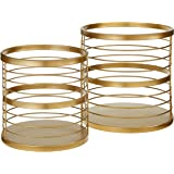 """Amazon Brand – Rivet Modern Metal Wire Baskets, Set of 2, 13.75""""H and 11.75""""H, Gold"""