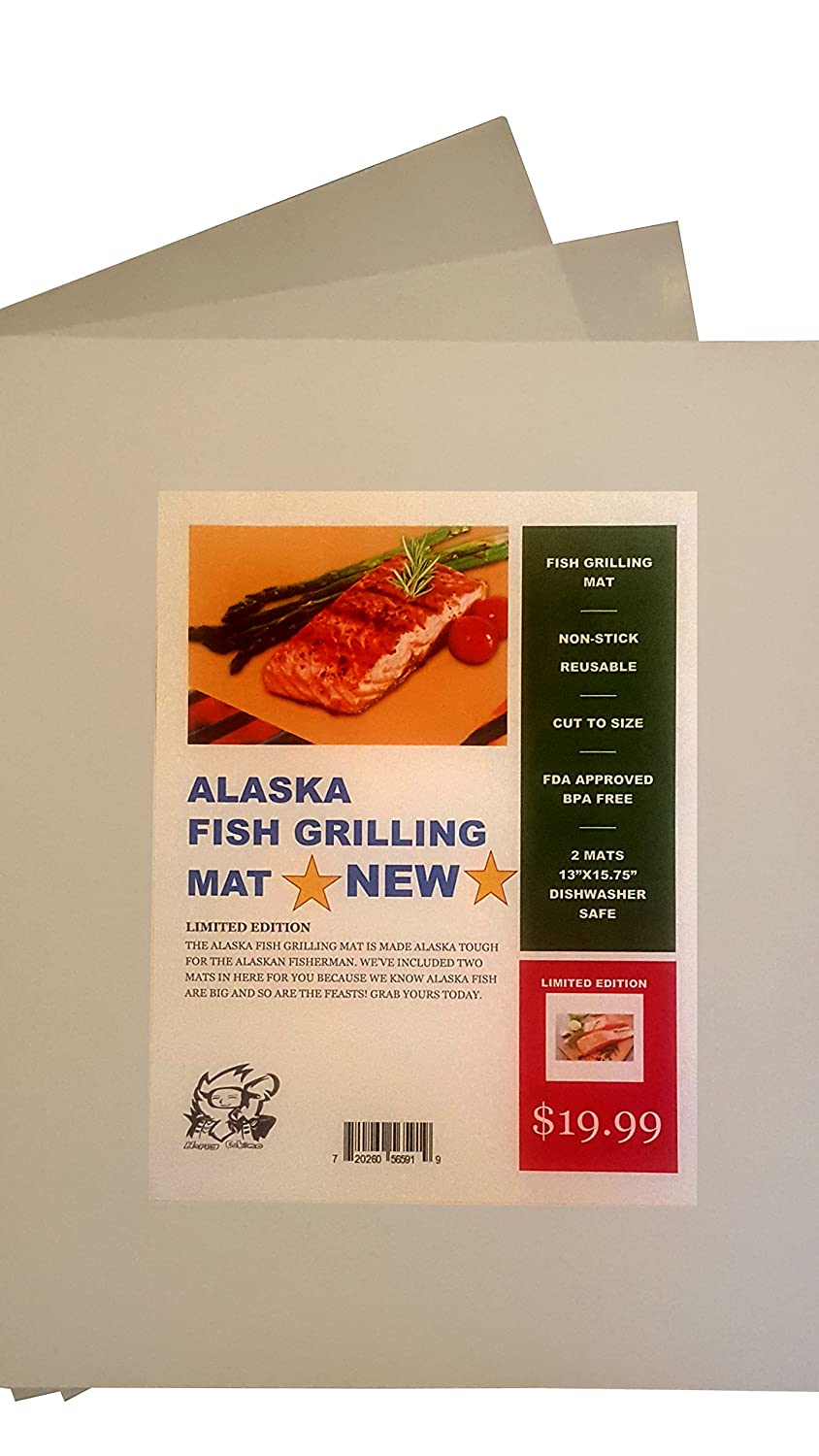 Alaska Fish Grilling Mat Set of 2- FDA Approved Nonstick, Teflon Sheet BBQ Mats, Reusable Dishwasher Rack Safe For Gas, Electric, Charcoal, Barbecue Grill Cooking And Baking 100% PFOA Free bbq Liner
