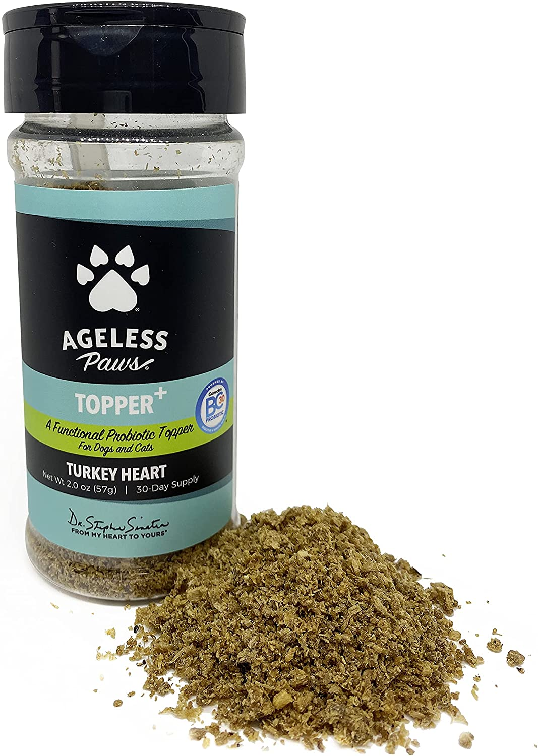 Ageless Paws Turkey Heart Topper+ Probiotics Functional Food Topper for Dogs and Cats, Freeze-Dried, Limited-Ingredient, Organ Meat Pet Food Topper (2 oz / 57 g)