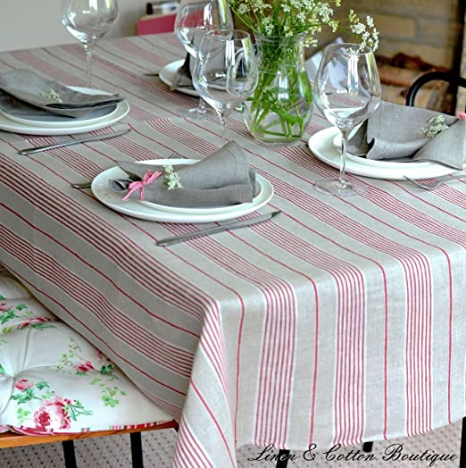 Christmas Tablescape Decor - Red Stripe Luxury Linen & Cotton Natural Tablecloth - Great idea for a simple Christmas breakfast