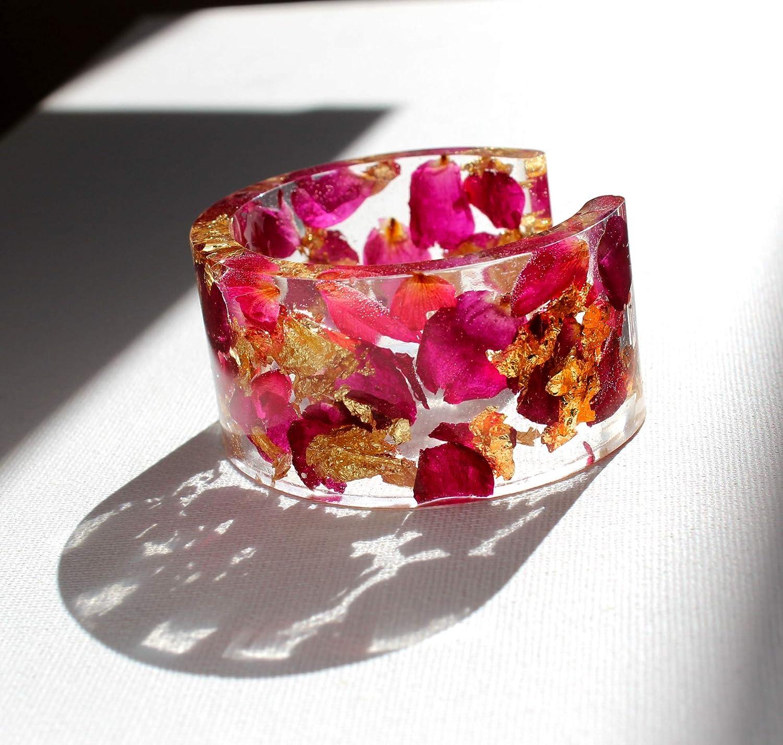 Rose flower bracelet Resin bracelet with natural rose petals and 22k golden flakes Unique resin jewelry Rose gold bracelet