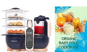 BabyMoov Duo Meal Station XL | 6 in 1 Food Processor with Steamer, Multi-Speed Blender, Warmer, Defroster & Sterilizer (Nutritionist Approved), Pink Bundled with HogoR Organic Baby Food Cookbook