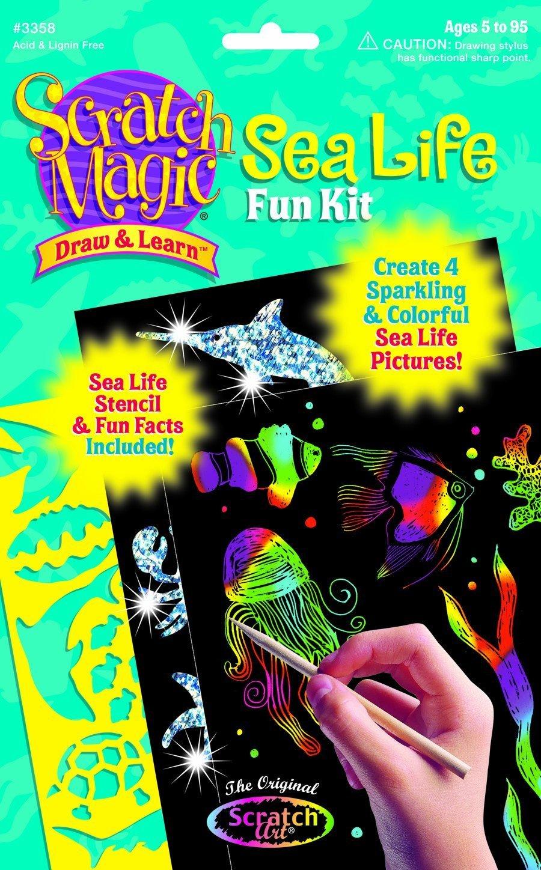 59183 Sea Life FREE Melissa /& Doug Scratch Art Mini-Pad Bundle Scratch Art Draw /& Learn Boards
