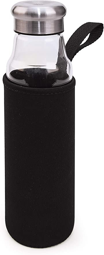 IRIS Botella Vidrio, Borosilicato, Negro, 6.5 cm: Amazon.es: Hogar