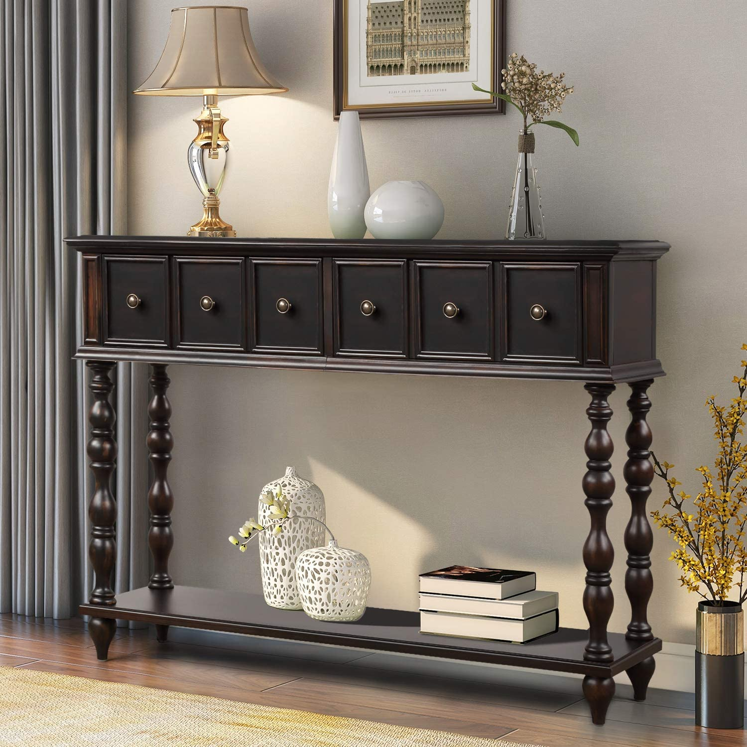 Console Table Rustic Entryway Table Antique-Inspired Design Sofa Table Hallway Table with Two Exquisite Drawers and Bottom Shelf for Living Room (Espresso Brown)