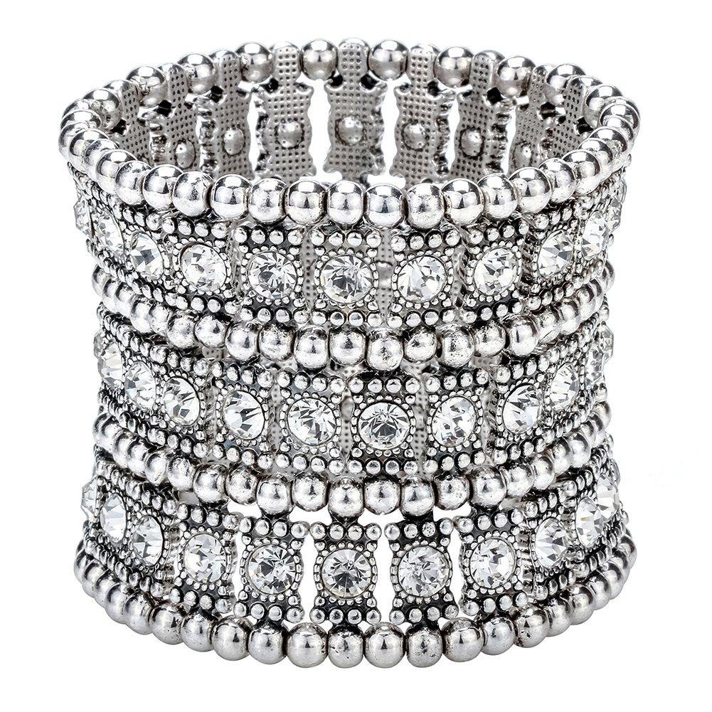Szxc Jewelry Women's Multilayer Crystal Stretch Bracelet 3 Row