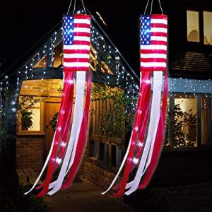 American Flag Windsock US Patriotic Windsocks Stars and Stripes Flag Patriotic Hanging Decoration with LED Lights for Independence Day Party Outdoor Yard Patio Garden Pathway (2)
