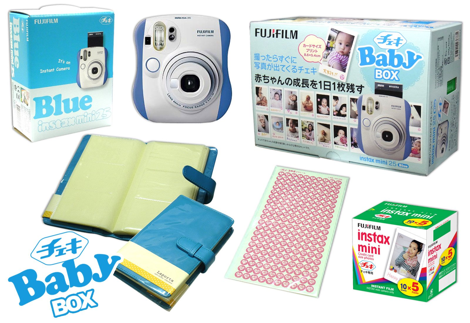 Fuji Instax Mini 25 Limited Version 1 Year Instax Baby Set Blue + 50 Films + Album + 365 Stickers Fuji Instax