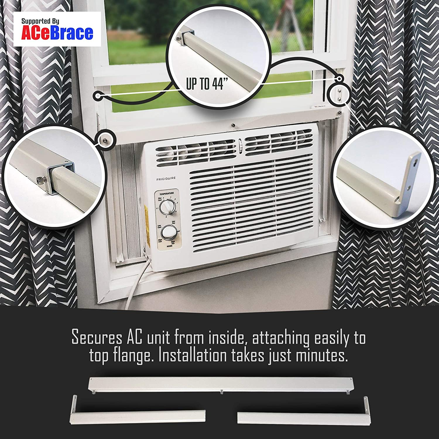 ACeBrace Air Conditioner Support for standard window Air Conditioners - Universal AC Window Bracket- Air Conditioner Support - Window Guard and Air Conditioner Support. MADE IN THE USA