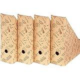NIPS 110071250 Eco Line Charly Magazine Box A4 W10.0 x D 26.5 x H 32.5 cm, 4-Pack Vanilla/Bordeaux