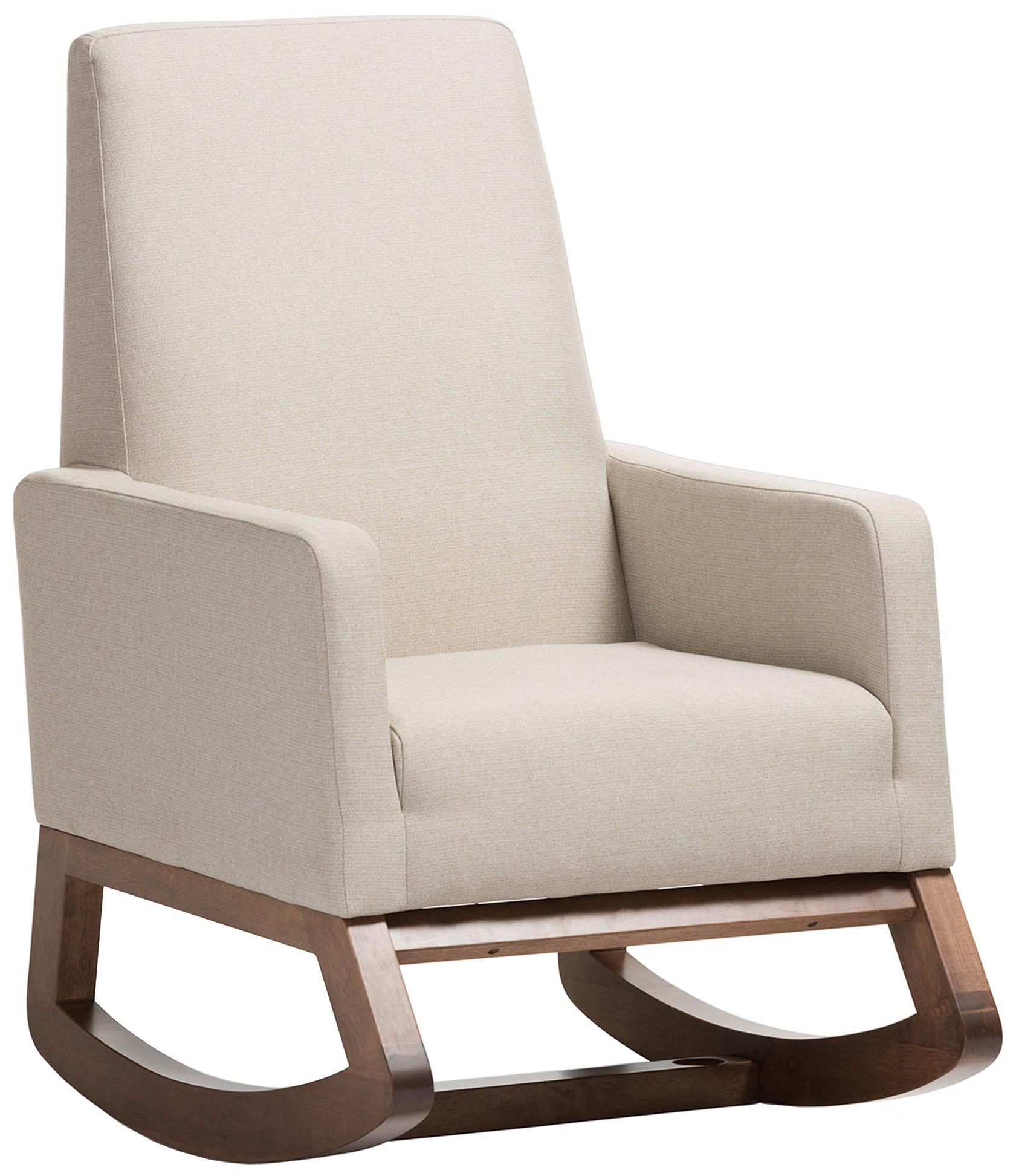 Baxton Studio Yashiya Mid Century Retro Modern Fabric Upholstered Rocking Chair, Light Beige by Baxton Studio