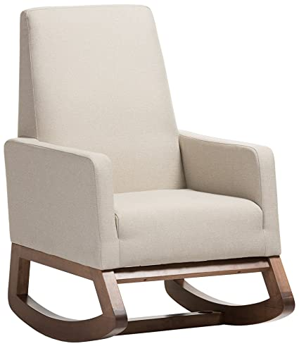 Attrayant Amazon.com: Baxton Studio Yashiya Mid Century Retro Modern Fabric  Upholstered Rocking Chair, Light Beige: Kitchen U0026 Dining