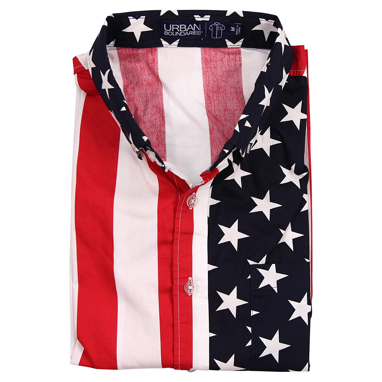 Urban Boundaries Mens American Flag Button Down Patriotic Shirt At Sorban Long Black Amazon Clothing Store