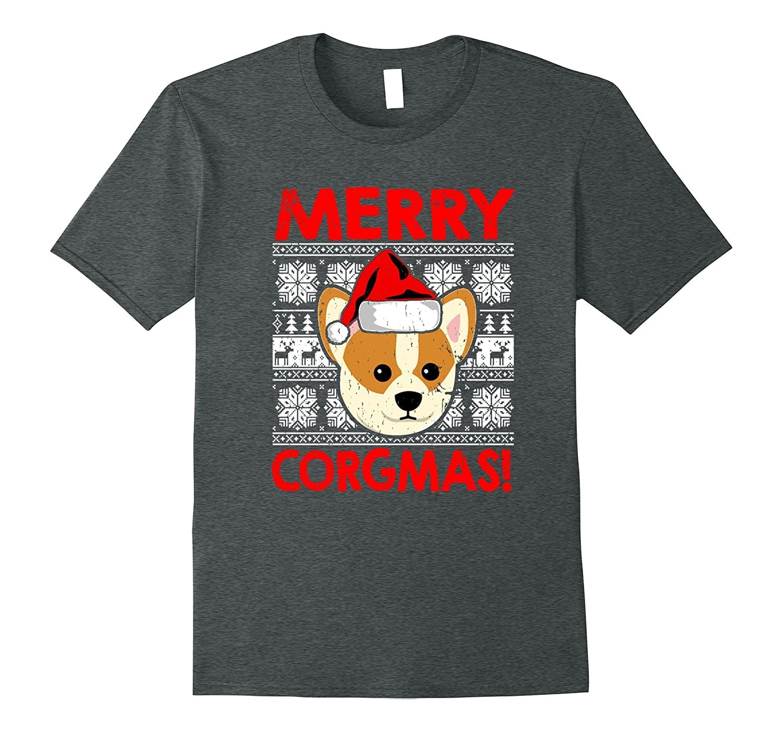Funny Christmas Santa Corgi Dog Merry Corgmas Tee Shirt-Art