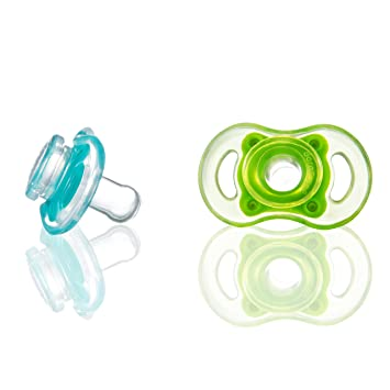 Bliss 0-6M Natural Shape Pacifier, 2-Pack (Blue & Green)