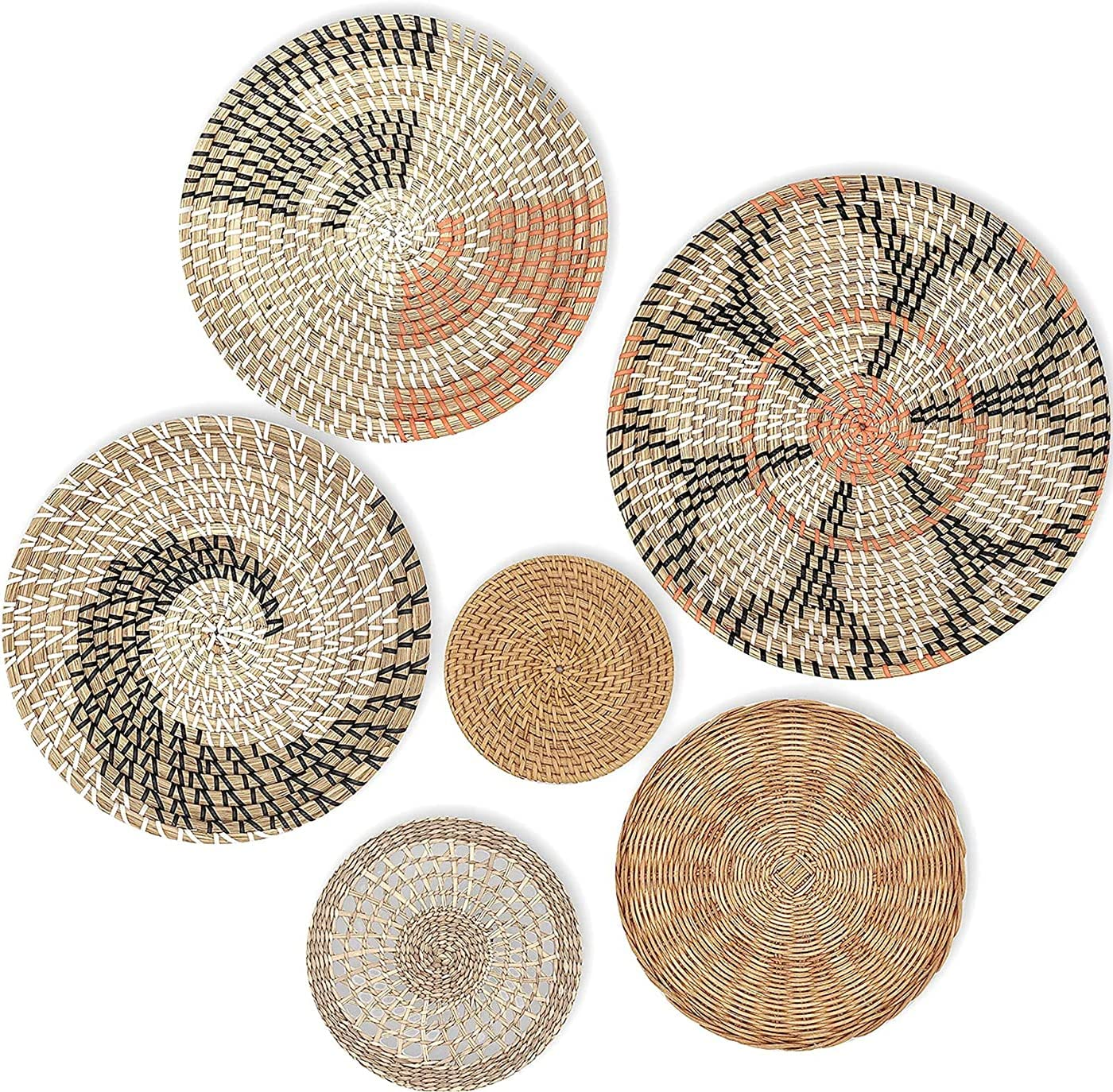 ZYUN Hanging Woven Wall Basket Decor Set of 6 Seagrass Baskets Wall Decor Rattan Decor for Boho Wall Art Round Wicker Decorative Tray Flat Basket for Coffee Table