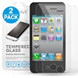 Yousave Accessories iPhone 4S / 4 Crystal Clear 2-Pack of Tempered Glass Screen Protector [Ultra Slim 0.3mm / 9H Hardness Rating] Twin Pack