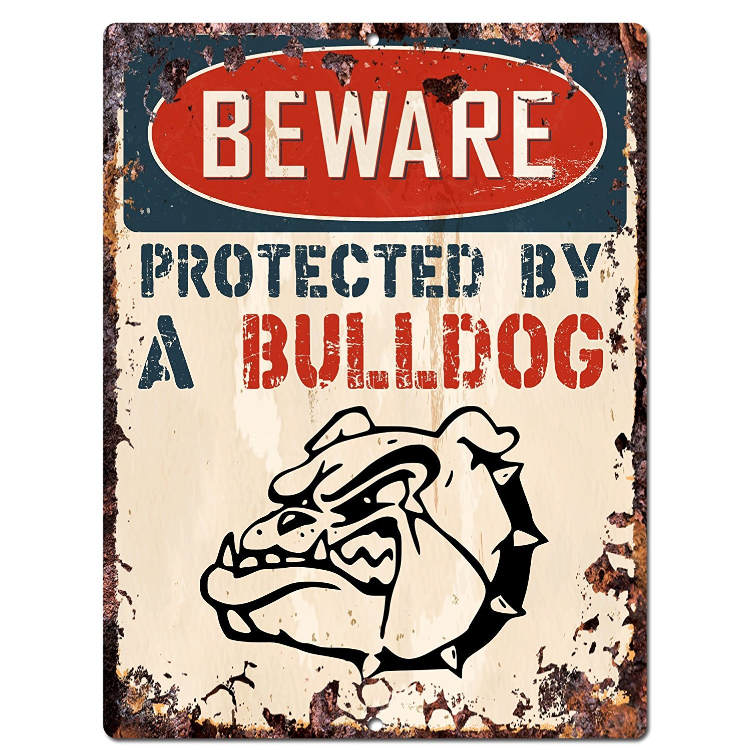 BEWARE PROTECTED BY A BULLDOG Chic Sign Vintage Retro Rustic 9x12 Metal Plate Home Room Door Wall Decoration PP-2092