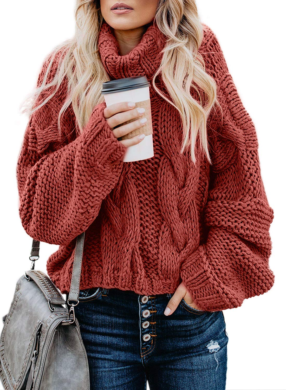 Asvivid Womens Winter Warm Turtleneck Balloon Long Sleeve Sweater Casual Oversized Loose Fit Cotton Sweater Jumper Tops M Red by Asvivid