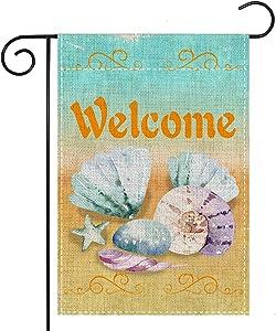 Welcome Beach Summer Garden Flag-Nautical Blue Seashell Starfish - Vertical Double Sided Seasonal Coastal Outdoor Decor Sign for Festival Patio 12x18 Inch