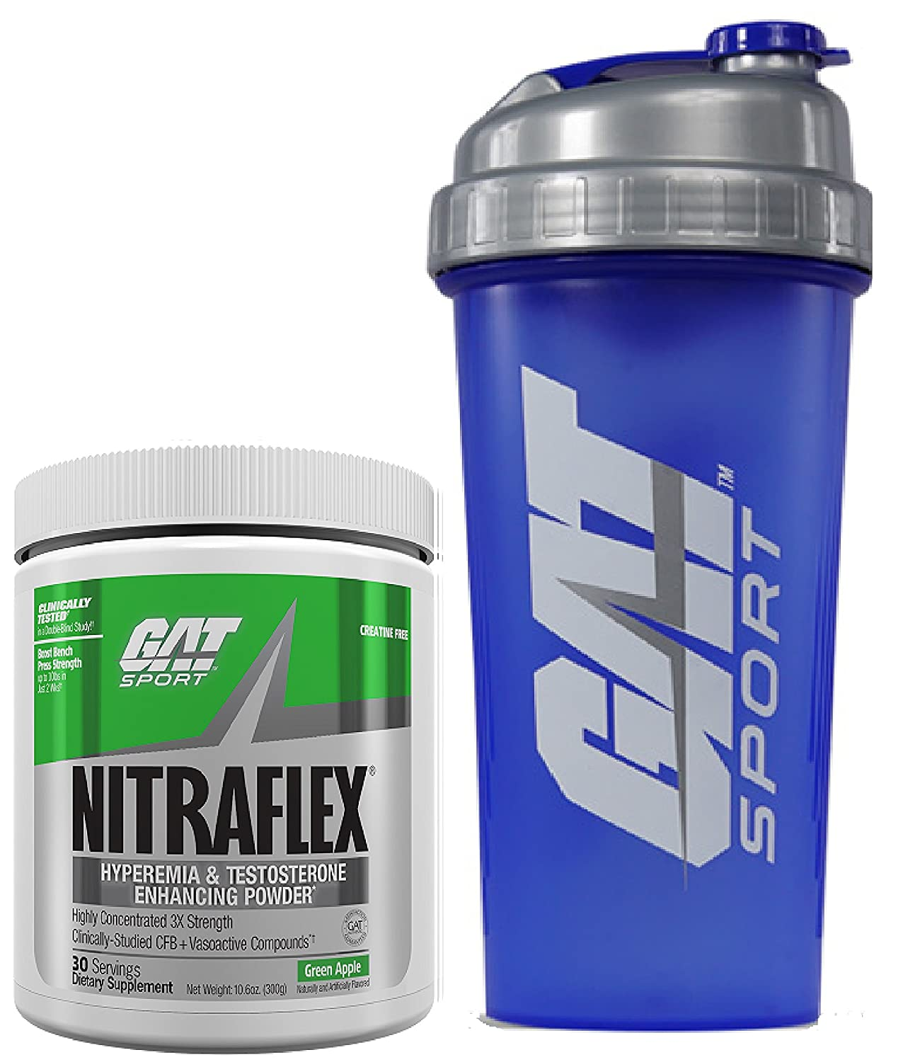 GAT Clinically Tested Nitraflex Testosterone Enhancing Pre Workout 300g 30 servings with BONUS GAT Shaker Bottle Green Apple