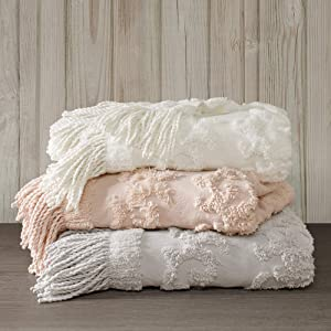 Madison Park 100% Cotton Tufted Chenille Design With Fringe Tassel Luxury Elegant Chic Lightweight, Breathable Cover, Luxe Cottage Room Décor Summer Blanket, 50
