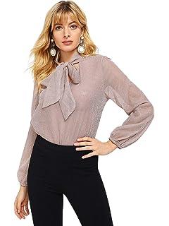 6824ccac72 WDIRARA Women s Sheer Long Sleeve Tie Neck Work Button Up Mesh Blouse Tops