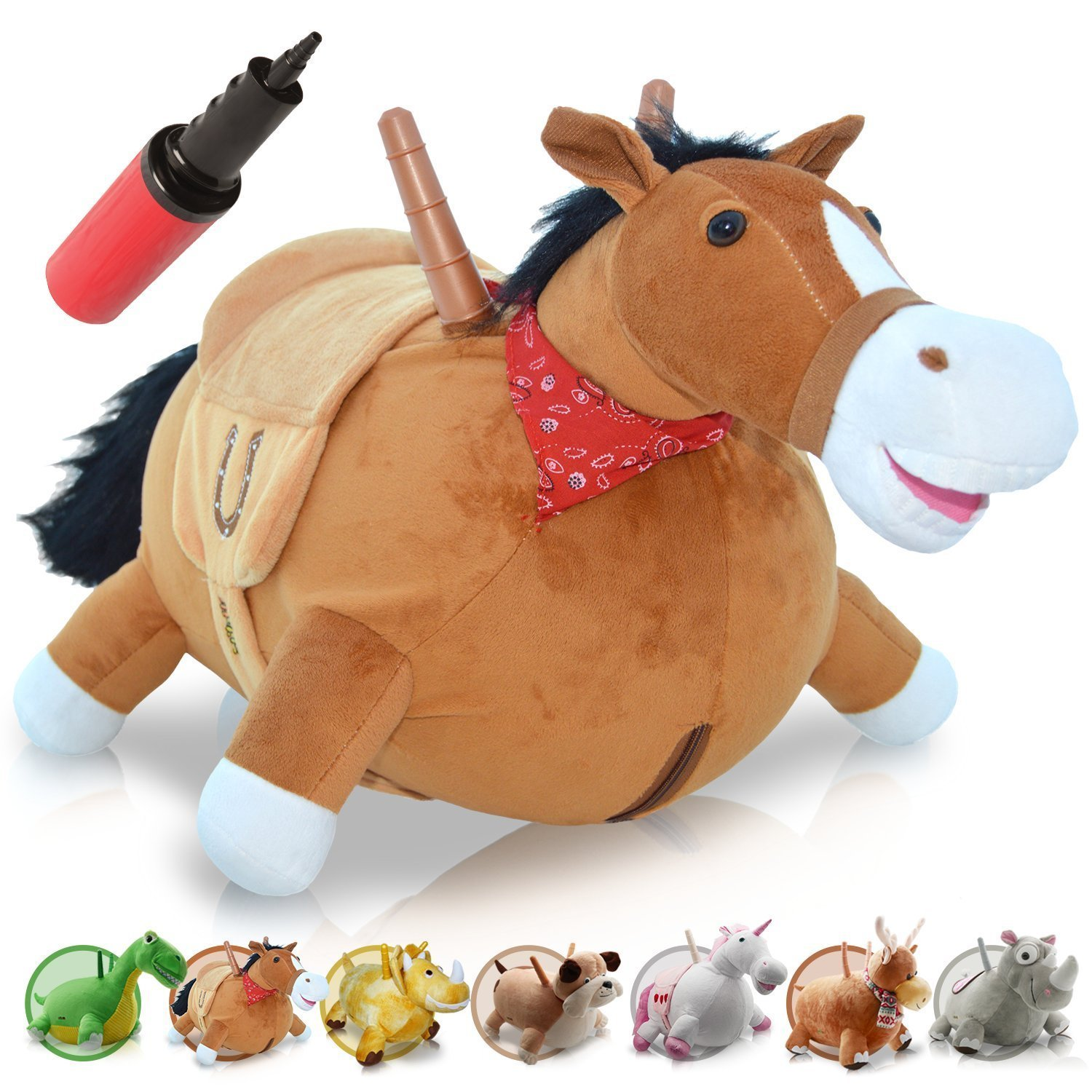 WALIKI TOYS Bouncy Horse Hopper Mr Jones Hopping Horse Inflatable Ride On Pony Ridding Horse For Kids Jumping Horse Pump Included