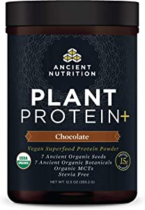 Plant Protein+, Plant Based Protein Powder, Chocolate, Formulated by Dr. Josh Axe, Fusion of Organic Seeds & Botanicals Brings You a Vegan, Non-GMO, No Sugar Added Superfood Supplement, 12.5 oz