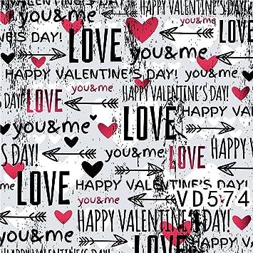 LB 300x300cm Vinilo De Fondo| Rojo Amor corazones y flecha negra, feliz día de