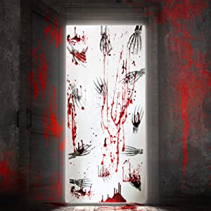 Joyjoz 4Pcs Halloween Door Cover Window Poster Decor Set, Scary Bloody Skeleton Handprint Poster Window Door Decorations for Haunted House, Halloween Party, Indoor Outdoor Halloween Decorations