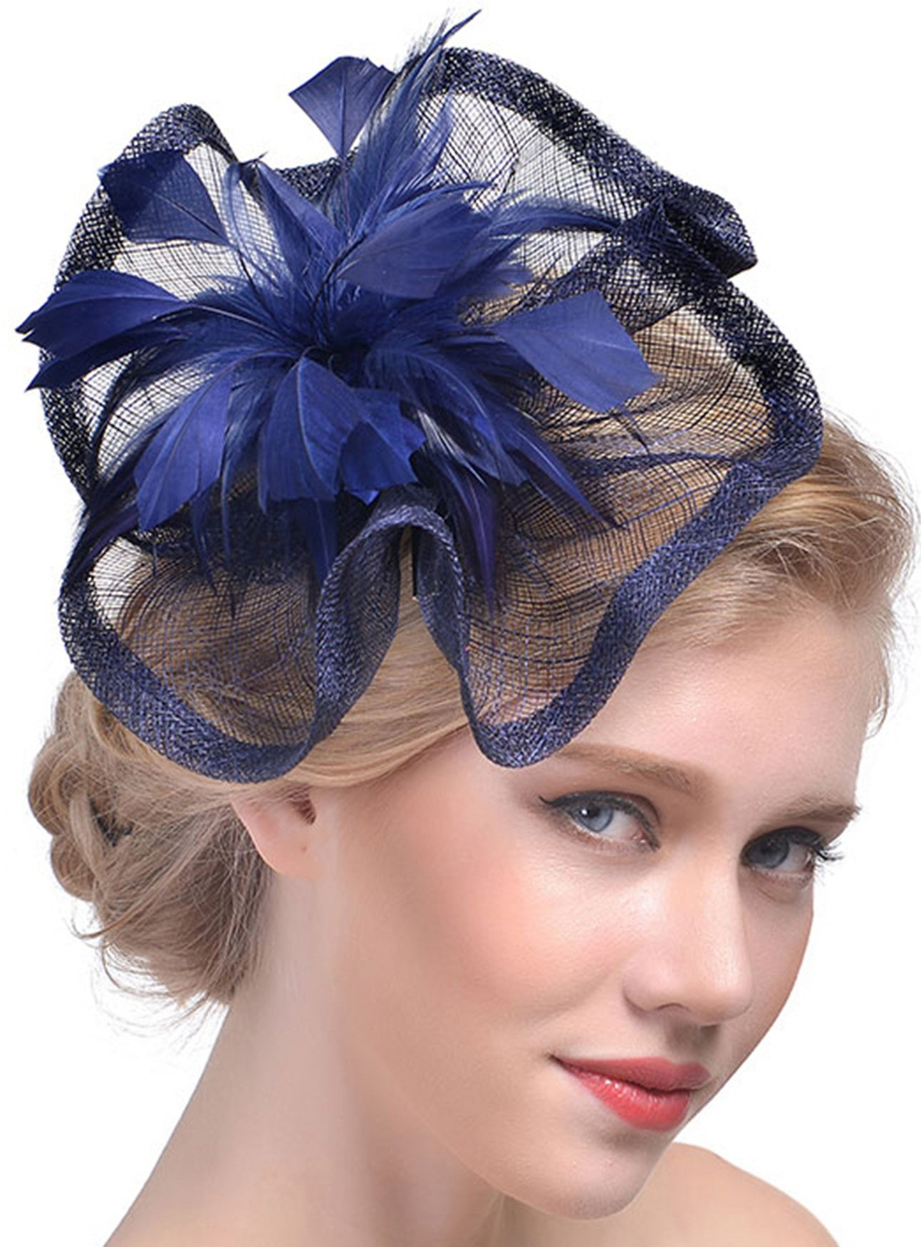 Feather Fascinators Hair Clip Pillbox Hat Derby Party Headdress Bride Headwear (Navy Blue)
