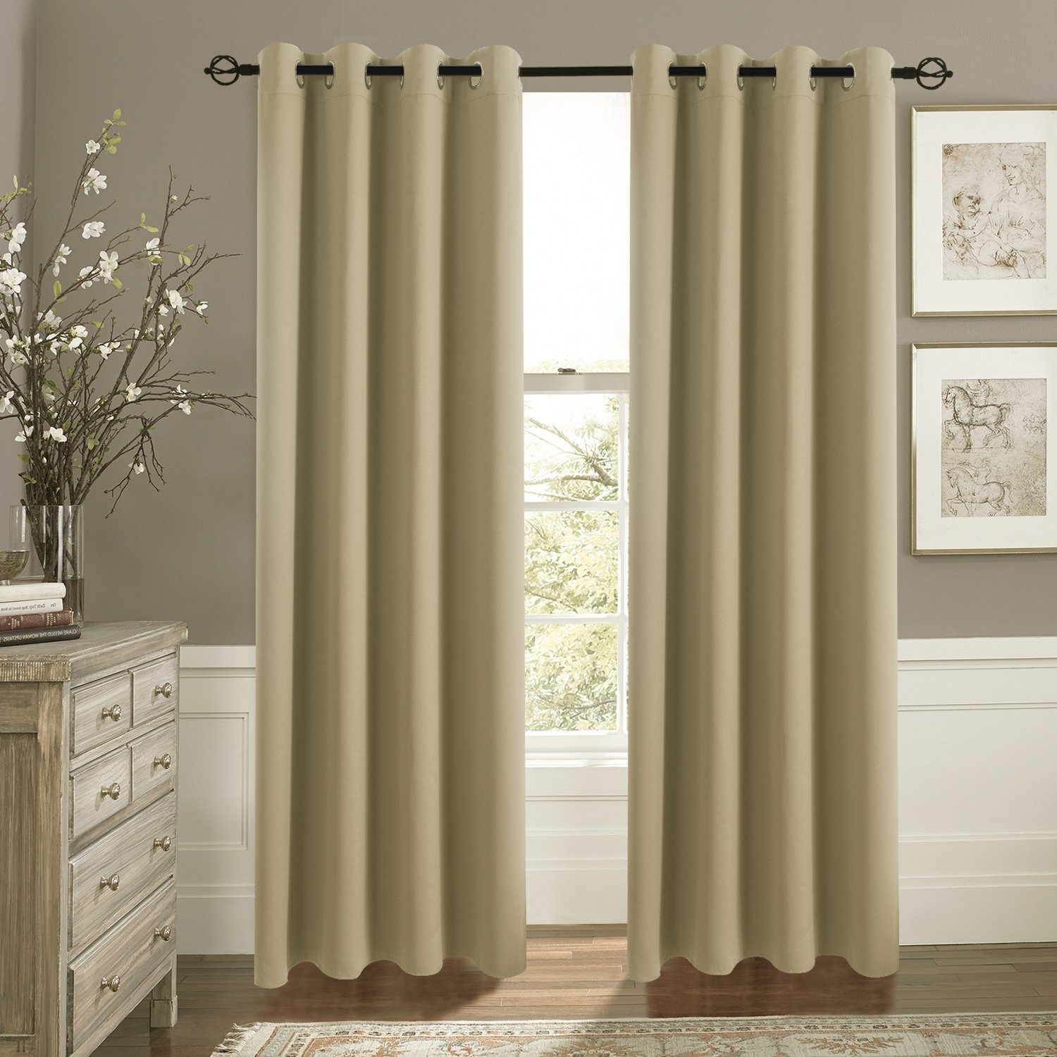 Aquazolax Plain Grommet Thermal Insulated Blackout Curtain Draperies for Living Room Taupe/Khaki
