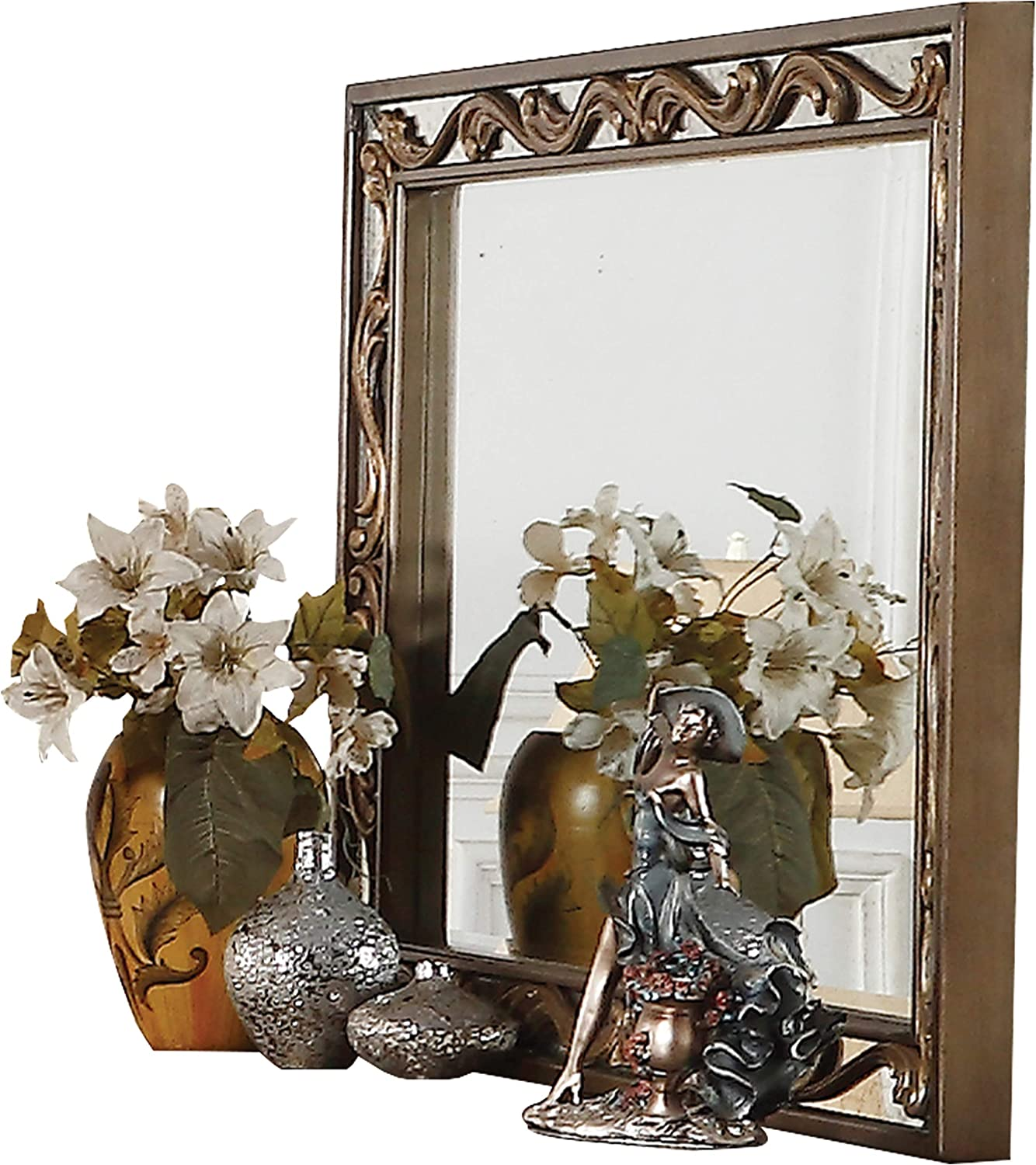 Benjara Rectangular Wooden Mirror with Raised Scrolled Inlays, Gold and Silver