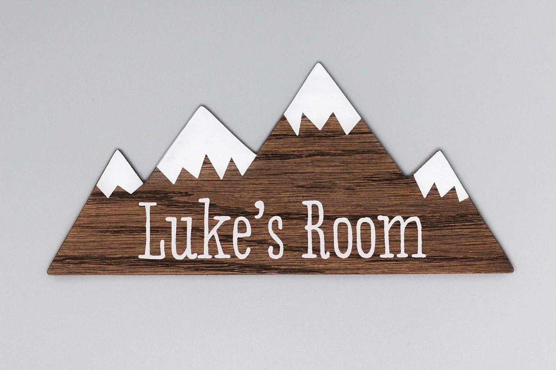 decorazione del bosco targa per la porta per la cameretta dei bambini prz0vprz0v Segnale di montagna in legno per la porta dei bambini personalizzabile per la cameretta dei bambini