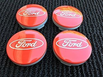 4 x Ford Rojo Plata Logo 54 mm Buje tapas Buje Tapa Tapacubos Llanta Tapa Cilindro