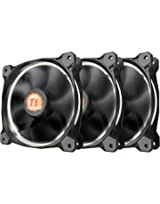 Thermaltake Riing 12 High Static Pressure Circular Ring White LED Case/Radiator Fan with Anti-Vibration Mounting System Triple Pack Cooling CL-F055-PL12WT-A