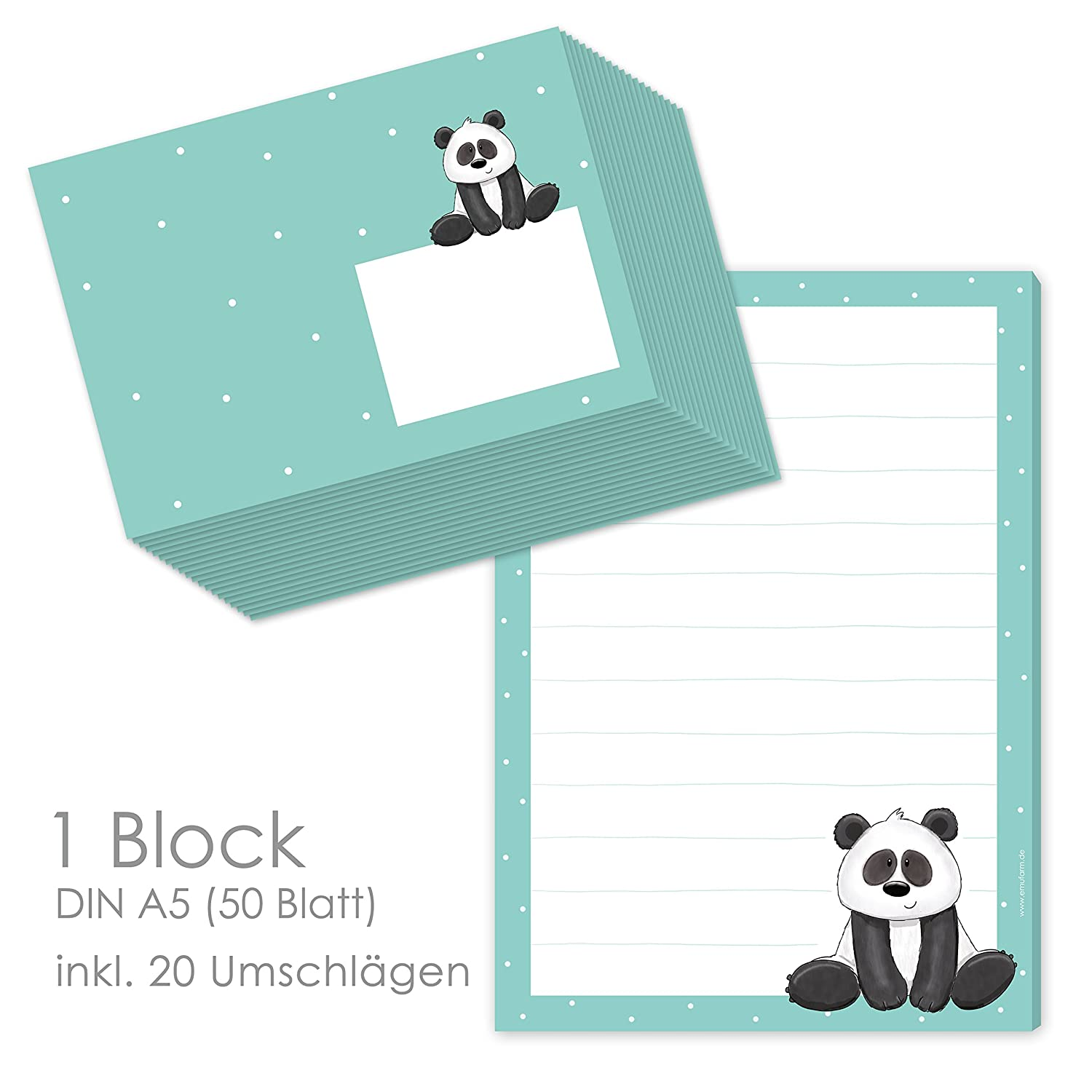 'Paul Panda Notepad/Notepad A5 Lined Paper (50 Sheets) Writing Paper + 20 Matching Envelopes for Children Stationery {Cam2012/for Children's emufarm